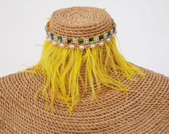 Yellow Bird Ostrich feather and pearl and multi colour diamond choker.