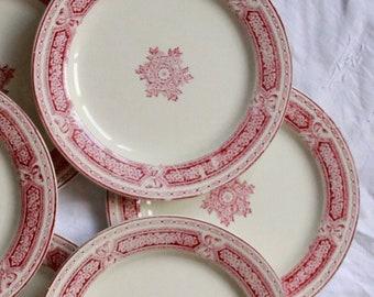 Set of 6 plates Bordeaux Léon Bertrand old red earthenware vintage spirit family home