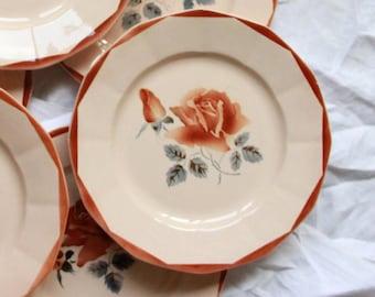 Set of 6 flat plates flowered earthenware old Digoin Sarreguemines model 9181 old pink vintage table décor
