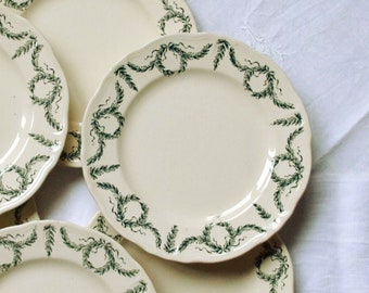 Set of 6 plates dessert garland foliage green earthenware old Longchamp Villey vintage decoration table party
