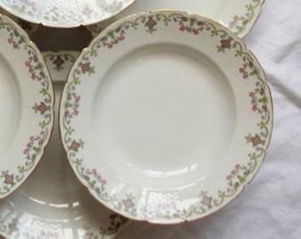 Set of 6 hollow plates floral porcelain old GDA Limoges around 1900 France vintage table family home
