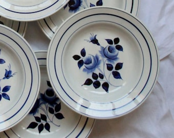 Set of 6 plates hollow flower blue earthenware old French Moulin des loups and Hamage number 368 vintage spirit family home