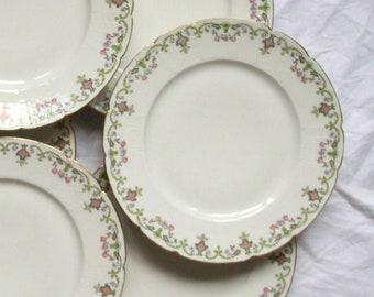 Set of 6 flat plates flowered porcelain old GDA Limoges around 1900 France vintage spirit family home