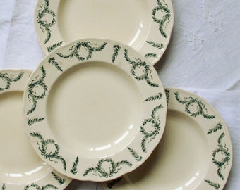 Set of 4 hollow plates garland foliage green earthenware old Longchamp Villey vintage spirit family home France