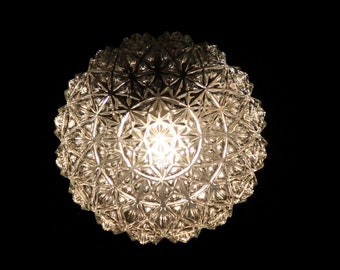 Wall lamp ceiling lamp round globe molded glass 70/80 interior decoration vintage atmosphere seventies eighties