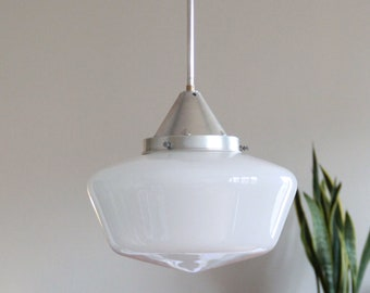 Very large lamp suspension opaline old lampshade glass white workshop garage industrial luminaire vintage decoration