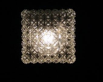 Large wall lamp ceiling lamp square globe molded glass 70/80 interior decoration vintage atmosphere seventies eighties