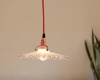 Suspension lampshade opaline flat corrugated vintage transparent edge old chandelier luminaire interior decoration