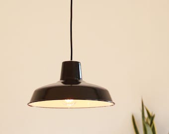 Lamp suspension old black enamelled sheet metal lampshade metal workshop industrial garage vintage lighting decoration