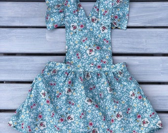 Handmade floral pinafore dress, girls pinafore dress with flutter sleeves
