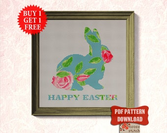 Easter Cross stitch pattern PDF,  Rabbit cross stitch chart, Happy Easter decor, xstitch Flower modern cross stitch Bunny cross stitch chart