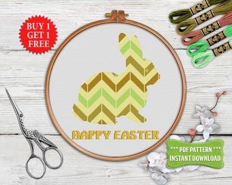 Rabbit Cross stitch pattern PDF, Happy Easter cross stitch decor, Geometric xstitch, Bunny Animal Embroidery hoop art, PDF instant download