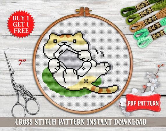 Funny cross stitch pattern Cat cross stitch Subversive room decor  Inappropriate Cat embroidery hoop art Animal modern cross stitch PDF