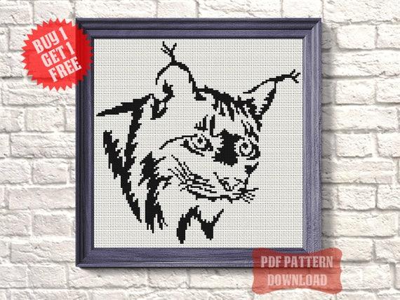 animal cross stitch pdf lynx silhouette wall art room decor etsy