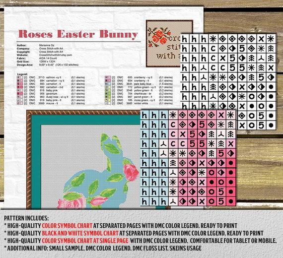 Easter Cross Stitch Pattern Pdf Rabbit Cross Stitch Chart Etsy