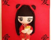 Chinese girl in kimono wi...
