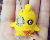 Little yellow Monster pendant puff