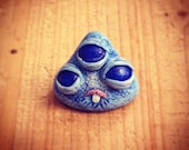 Blue Monster mini sculpture with 3 eyes