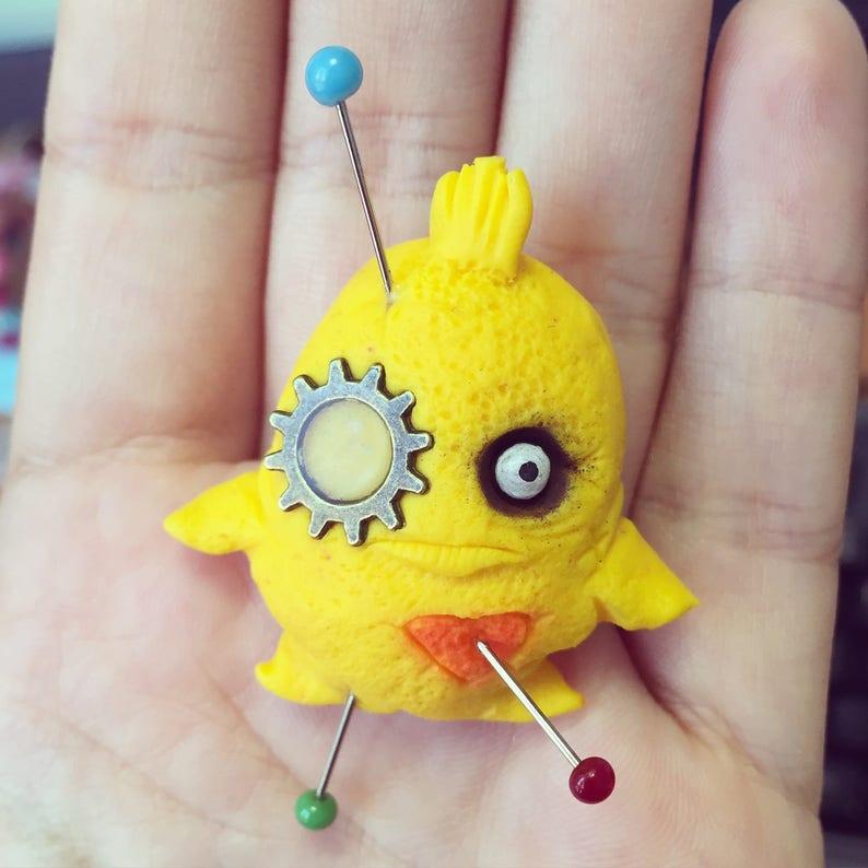 Little yellow Monster pendant puff image 0