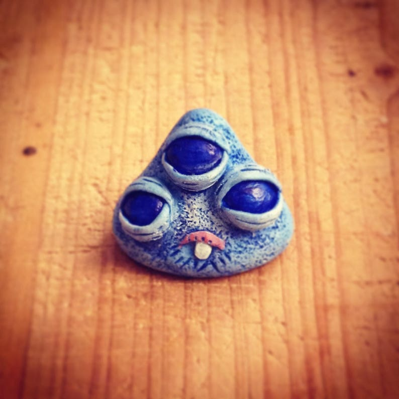 Blue Monster mini sculpture with 3 eyes image 0