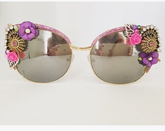 1ae1530c996 Oversized Pink Purple Statement Sunglasses Retro Vintage Shades Unique  Handmade Sun Glasses Festival Clothing Big Shades Eyewear