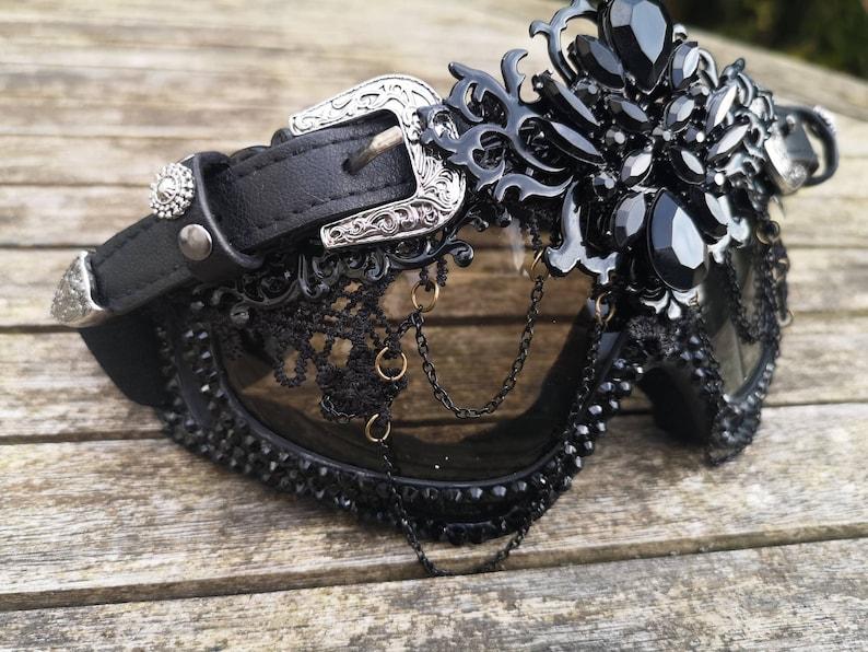 Designer Rave Eyewear ALL BLACK festival Dust Goggles with Buckles