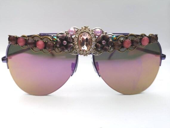 Purple Oversized Aviator Sunglasses, Vintage Decorated Statement Shades,