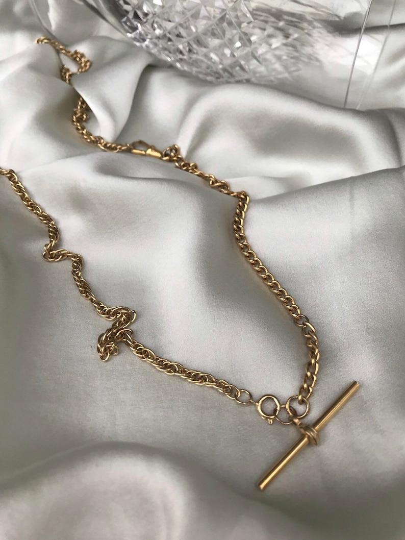 Bar and Albert Chain Bracelet  Bespoke Necklace /& Bracelet by Waszkiewicz Atelier Vintage 1980s Long Chain Necklace with T