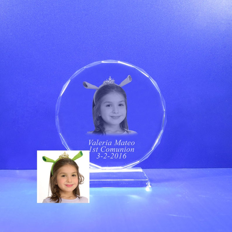 Photo Crystal Laser Etched Engraving with personalized Custom Mis Quince A\u00f1os Baptism Graduation School Awards HL091