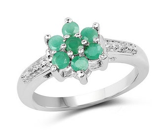 0.46 Carat Genuine Emerald .925 Sterling Silver Ring