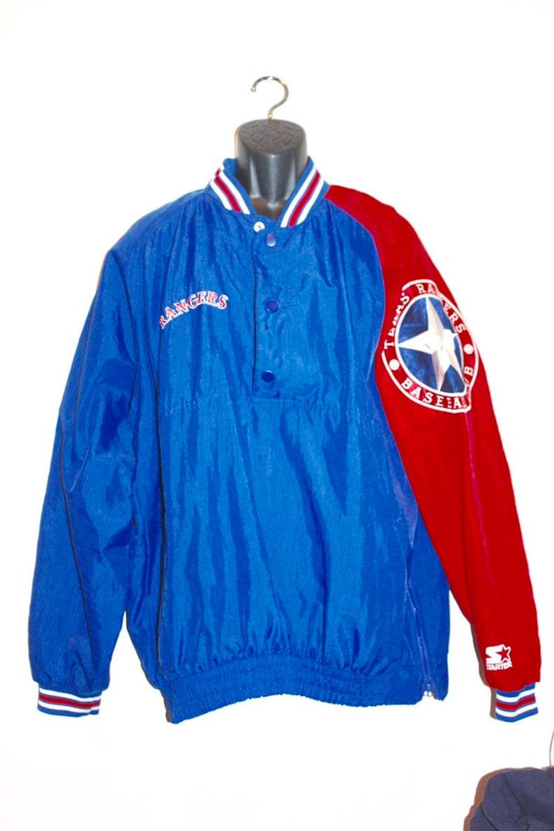 first rate 6a8db a943f Mens Vintage Texas Rangers Windbreaker Sweatshirt Red Blue Jacket 90s