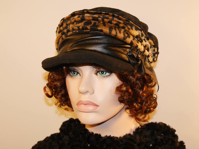 b8f61747f09a Mathilda 9 faux fur leopard and black cap | Etsy
