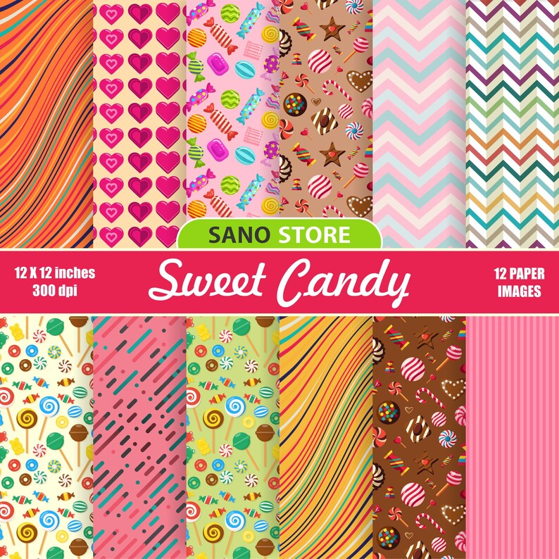 Sweet printable papers Candy Digital paper pack Craft,Printable Backgrounds Heart Scrapbook Chocolate,Lollipop