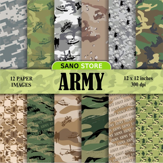 army, military, camouflage, background, scrapbook digital paper pack -  printable papers - Instant download - 12x12 inches  300 dpi