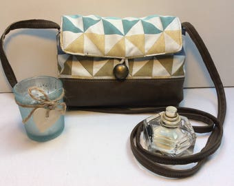 "Bag ""Marygeometrique"" Brown brass turquoise and blue"