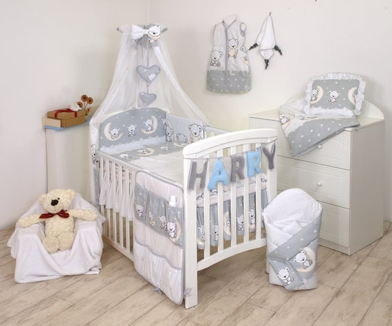 to fit Cot 120 x 60cm GREY//WHITE , 3 PCs BABY NURSERY BEDDING SET//bumper DUVET Cover//Pillowcase to fit cot //cotbed Grey//White Hearts