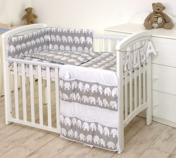 3 PCS Baby Bedding Set FIT COT Bed 140X70CM OR COT 120X60 cm COT 120X60, Grey Elephant//Yellow- Reversible