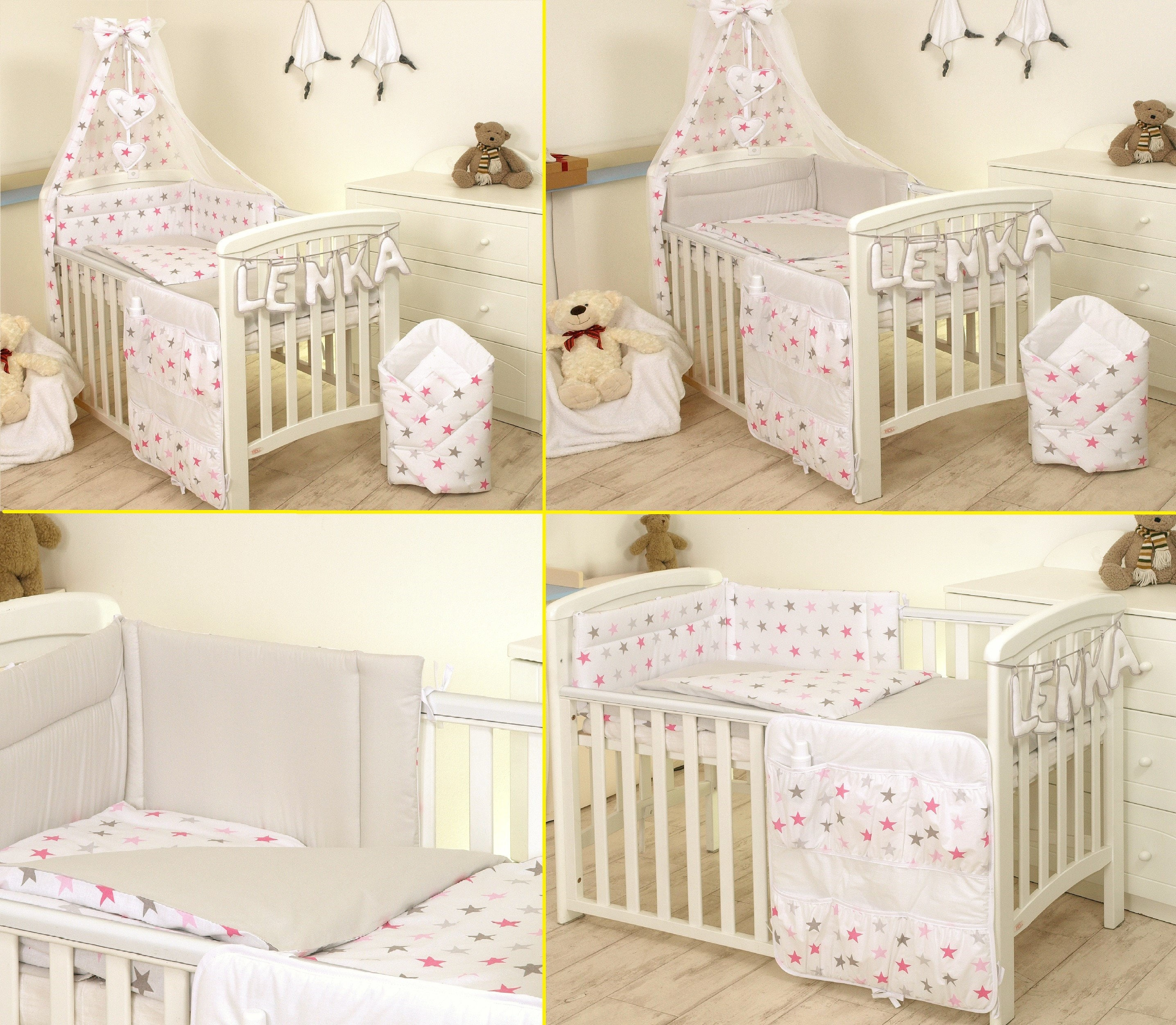 8 pc cot //cot bed bedding sets PILLOW BUMPER CASES pink stars grey duvet cover