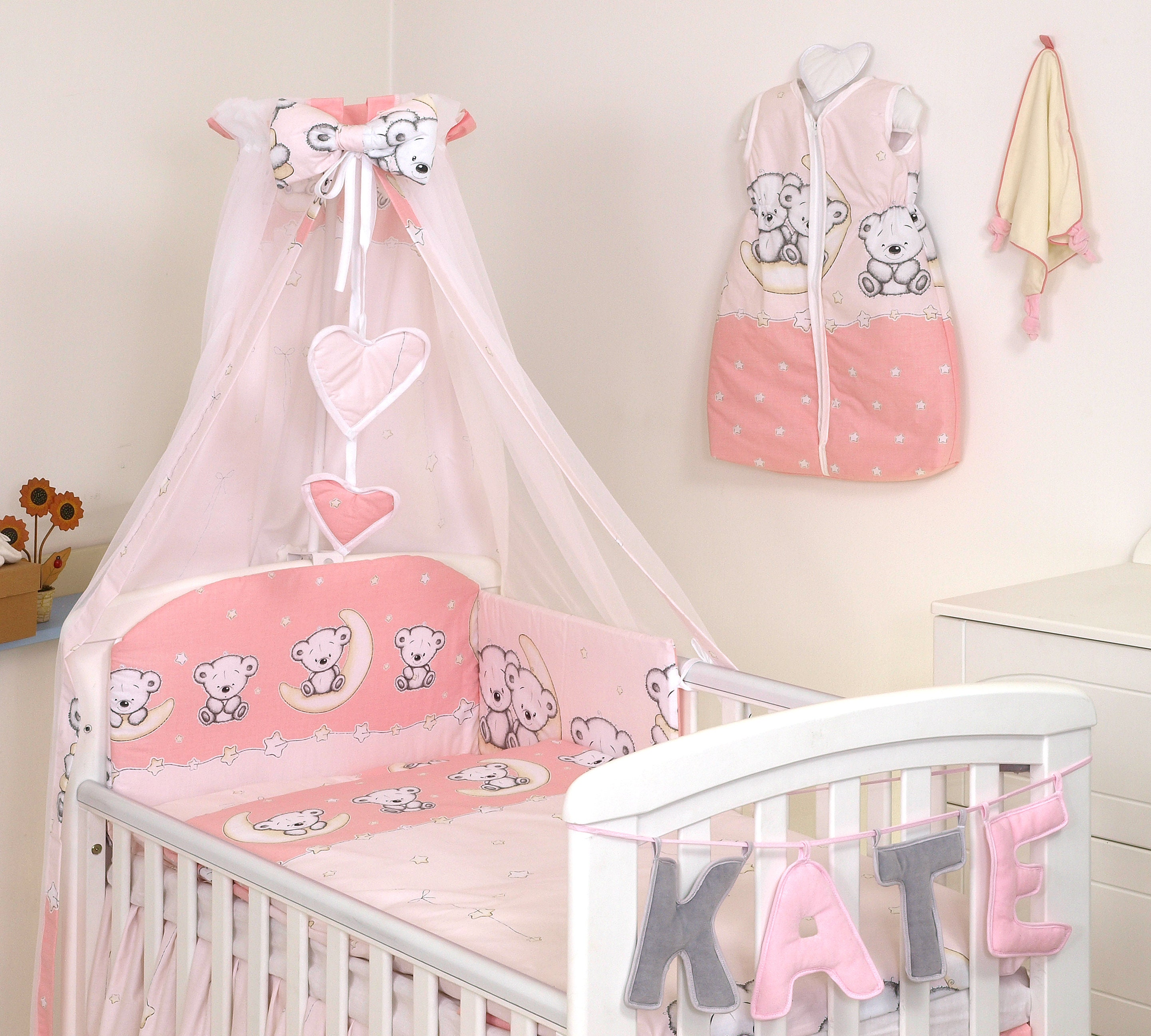 COVERs BUMPER ELEPHANT GREY-YELLOW BABY BEDDING SET COT COT BED CANOPY+MORE