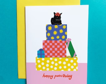 Happy Purrthday A2 Greeting Card