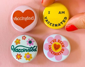 Vaccinated Pinback Button set of 4