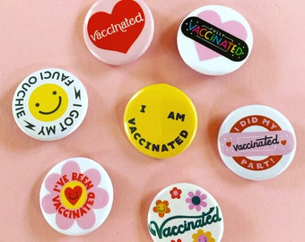 Vaccinated Pinback Button Collecter's Set