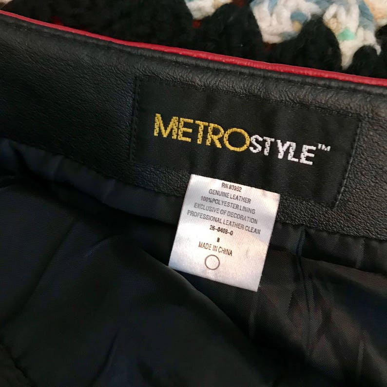 Vintage Metrostyle Mod Genuine Leather Multicolored Abstract High Waisted Pencil Skirt Size 8