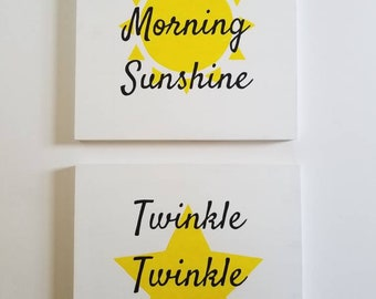 Good Morning Sunshine AND Twinkle Twinkle Little Star - Nursery Signs - Hand Painted Wood Signs