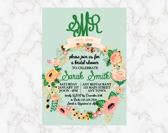 a13c8dca11ae Floral Monogram Bridal Shower Invitation Monogram Bridal Shower Invitation  Printable Bridal Shower Invitation Digital Download Bridal Shower