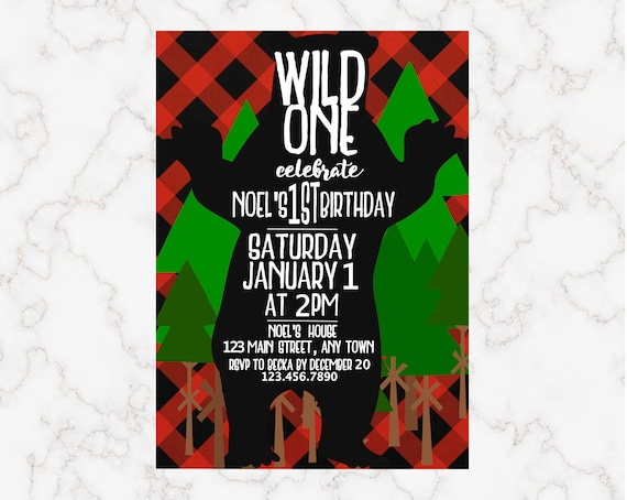 Buffalo Plaid Wild One Birthday Party Invitation First