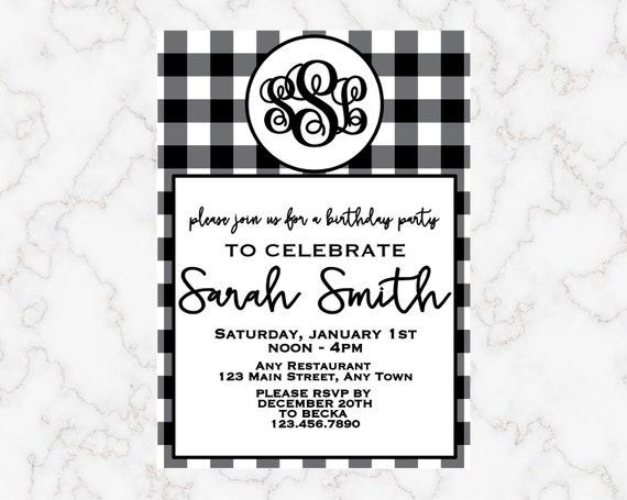 Czarno Biały Wzór Monogram Urodziny Zaproszenie Na Przyjęcie Etsy