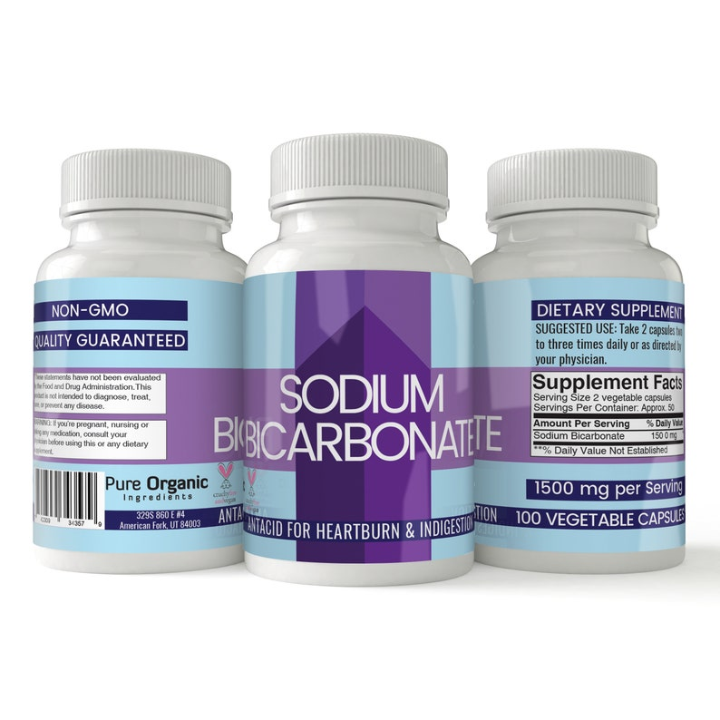 Sodium Bicarbonate (Baking Soda) Capsules (1500 mg per Serving)