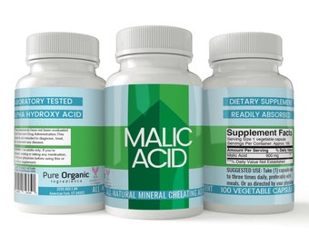 Pure Organic Ingredients, Malic Acid Chelating Supplement, 100 Veggie Capsules, 600 mg per serving, Mineral Chelation Supplement