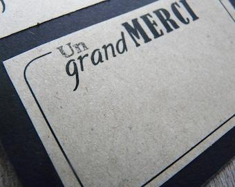 30 Cartes De Remerciement Noir Et Kraft Format Carte Visite